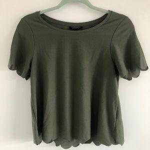 TOPSHOP Cropped Green T-Shirt